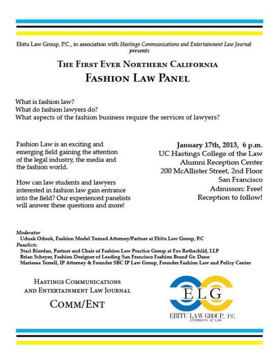 UC Hastings - Ebitu Law Group Fashion Law Panel Flyer
